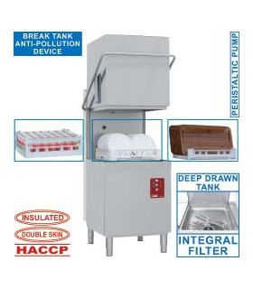 Lave-vaisselle capot double parois, panier 500x500 mm - Diamond