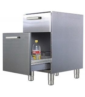 Meuble bas - 1 tiroir + 1 casier à bouteilles - Sur pieds inox