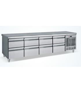 Meuble réfrigéré horizontal inox 4 portes hauteur 68 cm