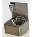 Lave-mains inox avec dosseret et distributeur de savon