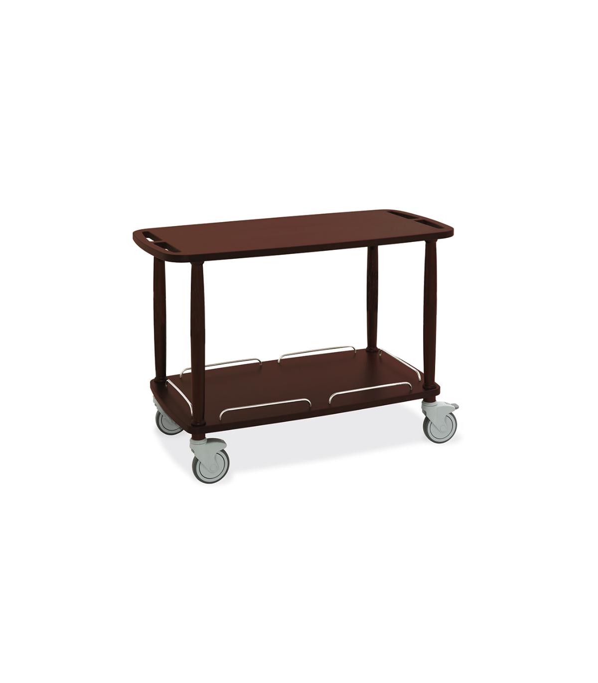 Table roulante rectangulaire pour le service en salle en bois mélaminé