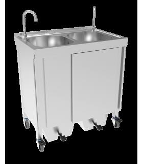 Lave-mains autonome portable double cuve