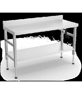 Table inox adossée avec système manuel d'élévation