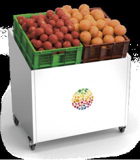 Présentoir de fruits et légumes en acier inoxydable avec roulettes