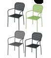Lot de 4 fauteuils avec accoudoirs en acier