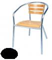 Lot de 4 fauteuils en frêne et alu empilables