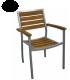 Lot de 4 fauteuils en teck et aluminium