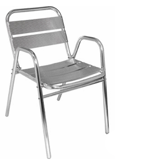 Fauteuils en aluminium empilables - Lot de 4