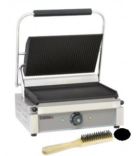 Grill panini plaque en fonte d'acier avec brosse de nettoyage