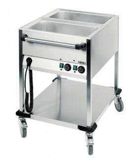 Chariot bain-marie à eau avec robinet de vidange bacs GN 1/1