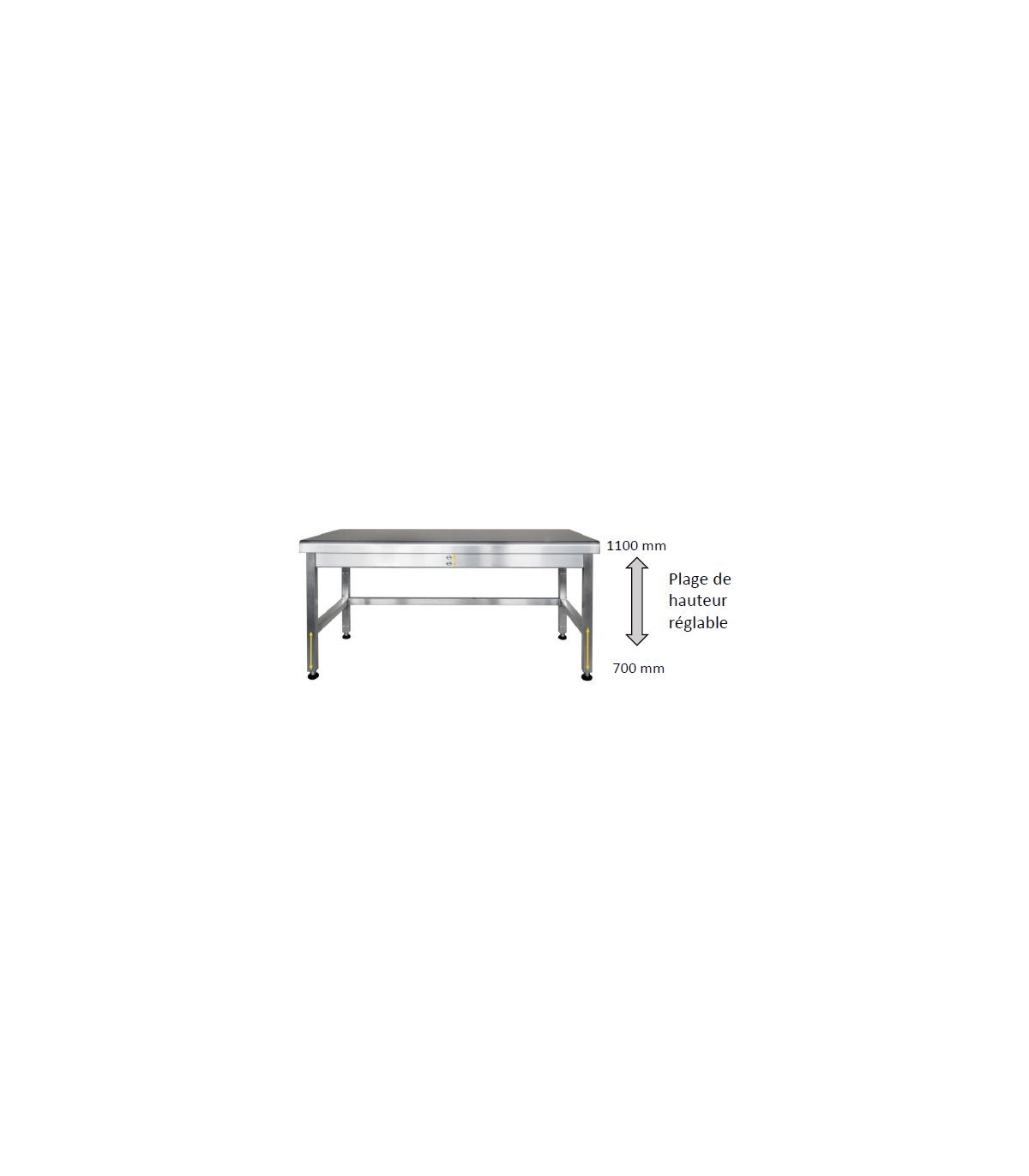 Table inox longueurs : 9, 9 et 9 mm et hauteur réglable