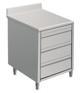 Table armoire inox avec tiroirs