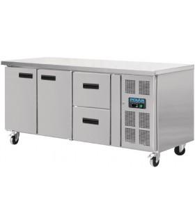 Table réfrigérée 2 portes et 2 tiroirs sur roues