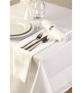 Boîte de 10 serviettes blanches en coton avec bande de satin