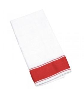 Boîte de 10 serviettes Gastro en coton avec bordure rouge - Olympia