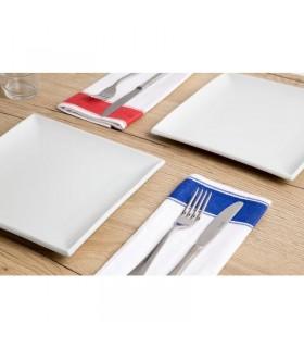Boîte de 10 serviettes Gastro en coton avec bordure bleue - Olympia