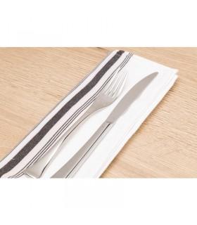 Boîte de 10 serviettes de table bistro avec rayures noires en polyester