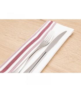 Boîte de 10 serviettes de table bistro avec rayures bordeaux en polyester
